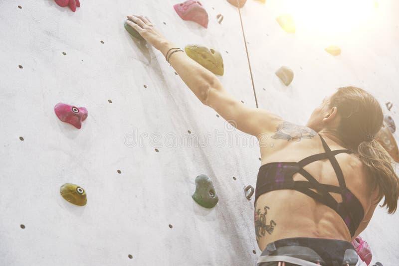 Kvinna med den perfekta passformkroppen, härlig muskulös baksida som utbildar på en klättringvägg i sportkorridor royaltyfri fotografi