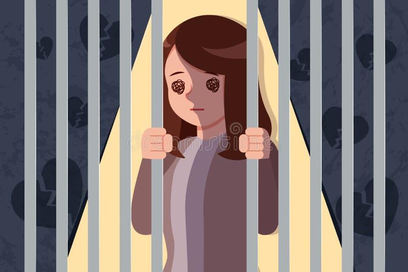 Kvinna med deprimerat problem royaltyfri illustrationer