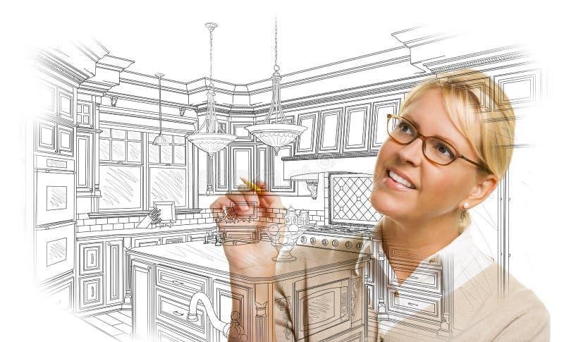 Kvinna med design för kök för blyertspennateckning beställnings- vektor illustrationer