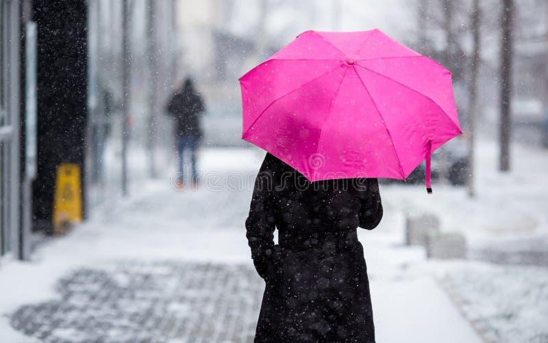 Kvinna med det rosa paraplyet som går på snöig dag royaltyfria foton