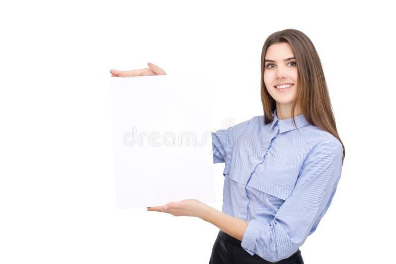 Kvinna med det tomma vita banret royaltyfri fotografi