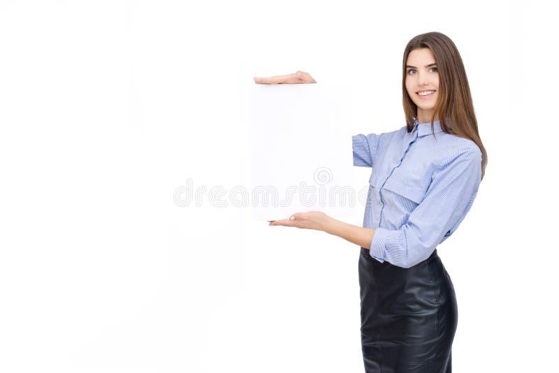 Kvinna med det tomma vita banret royaltyfria bilder