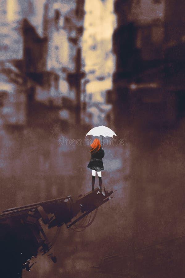 Kvinna med det vita paraplyet i förstörd stad royaltyfri illustrationer