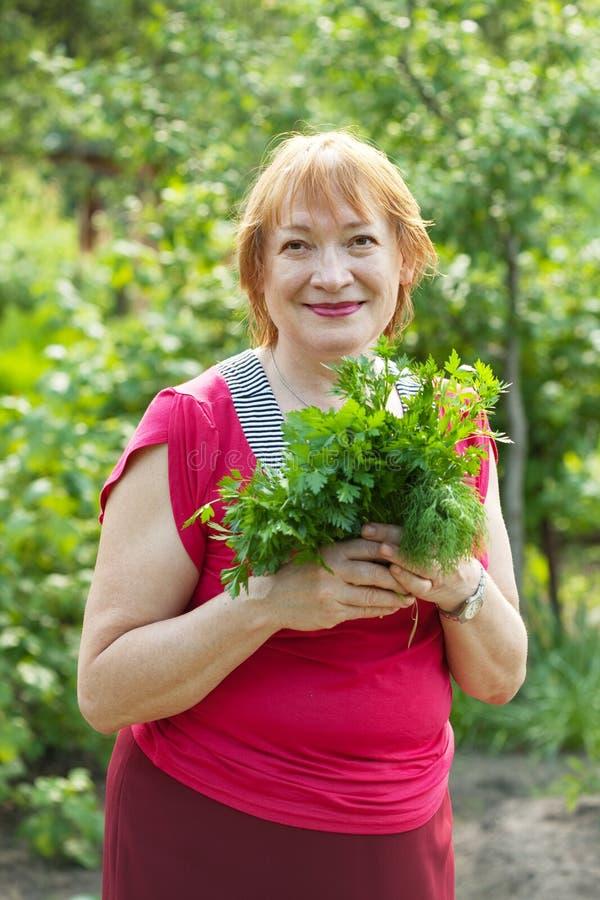 Kvinna med dill och parsley royaltyfri fotografi