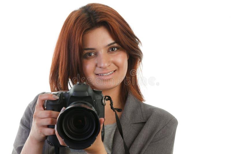 Kvinna med en DSLR arkivbilder