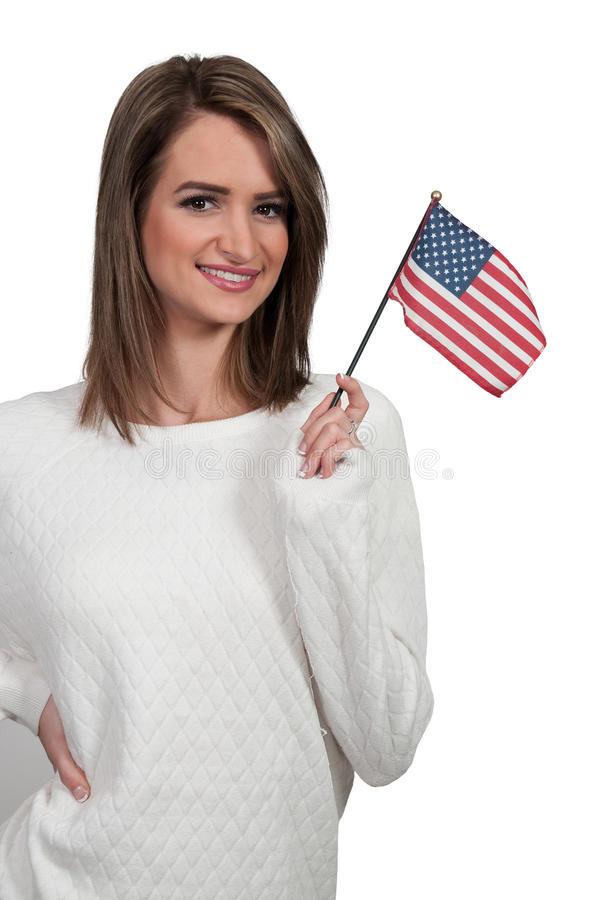Kvinna med en flagga royaltyfri foto