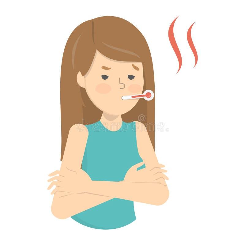 Kvinna med en hög temperatur som ett tecken av influensa vektor illustrationer