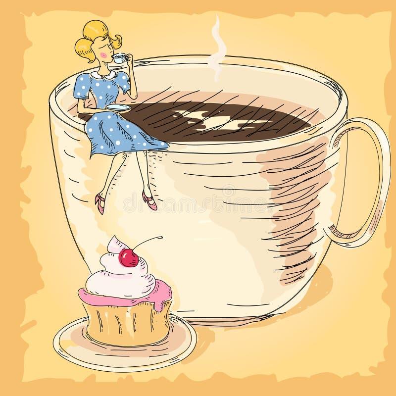 Kvinna med en kupa av coffe royaltyfri illustrationer