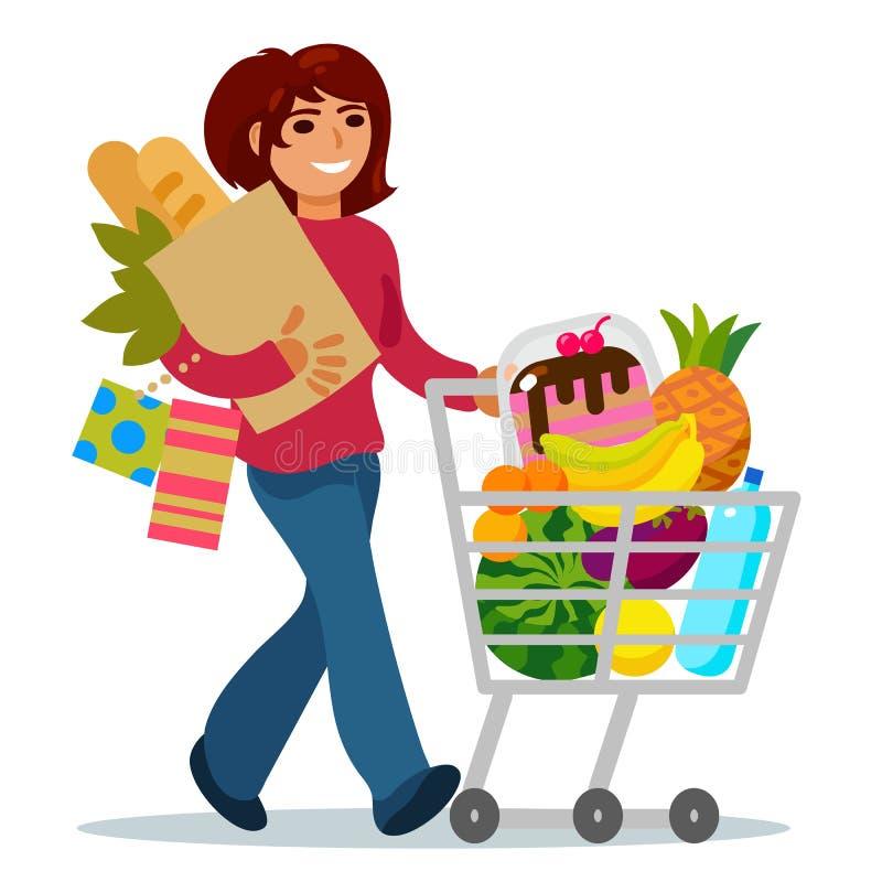Kvinna med en mat för köpande för shoppingvagn royaltyfri illustrationer