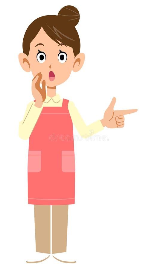 Kvinna med ett förkläde som pekar på ett finger och berättar information royaltyfri illustrationer