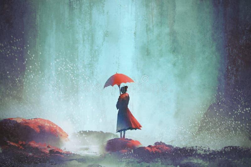 Kvinna med ett paraplyanseende mot vattenfallet vektor illustrationer