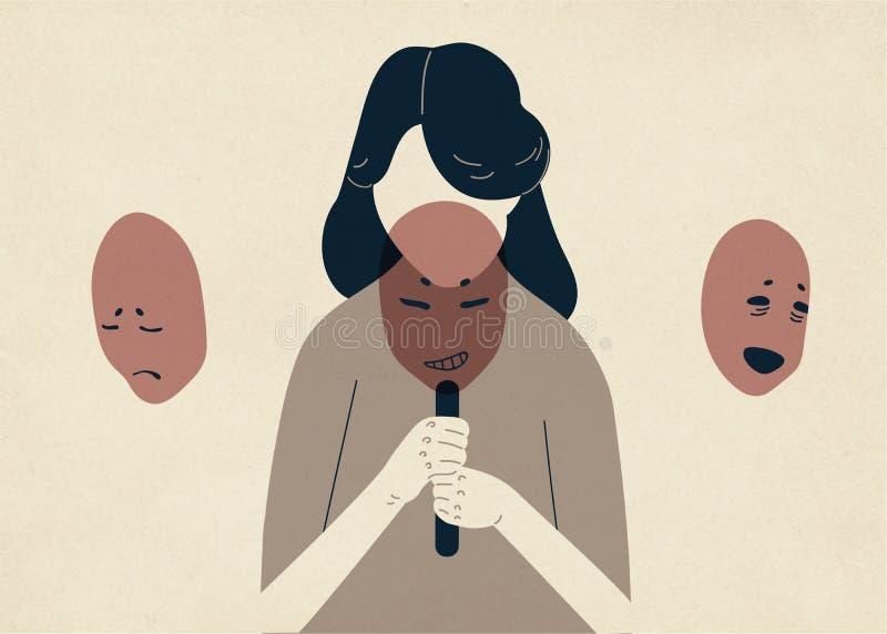 Kvinna med fälld ned head beläggning hennes framsida med maskeringar som uttrycker olika sinnesrörelser Naturligt begrepp av att  royaltyfri illustrationer
