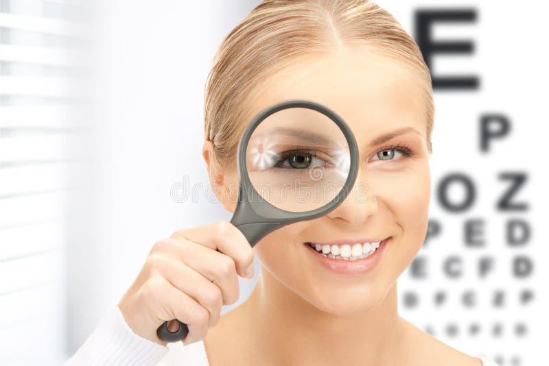 Kvinna med förstoringsapparat- och ögondiagrammet arkivbild