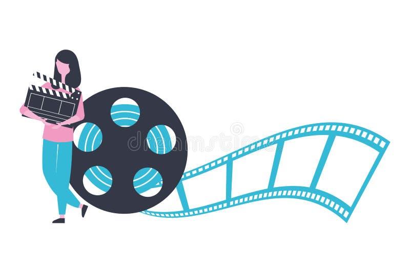 Kvinna med filmen för film för clapperboard- och rullremsaproduktion stock illustrationer