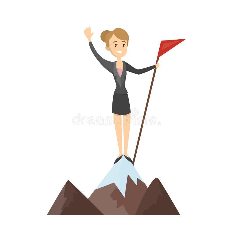 Kvinna med flaggan vektor illustrationer