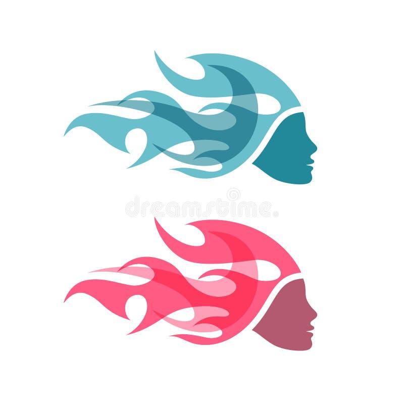 Kvinna med flammahår Idérik logo, symbol eller pictogram stock illustrationer