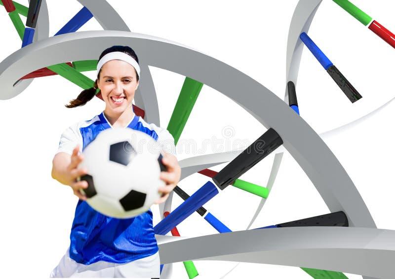 Kvinna med fotbollbollen med olika dna-kedjor royaltyfri fotografi