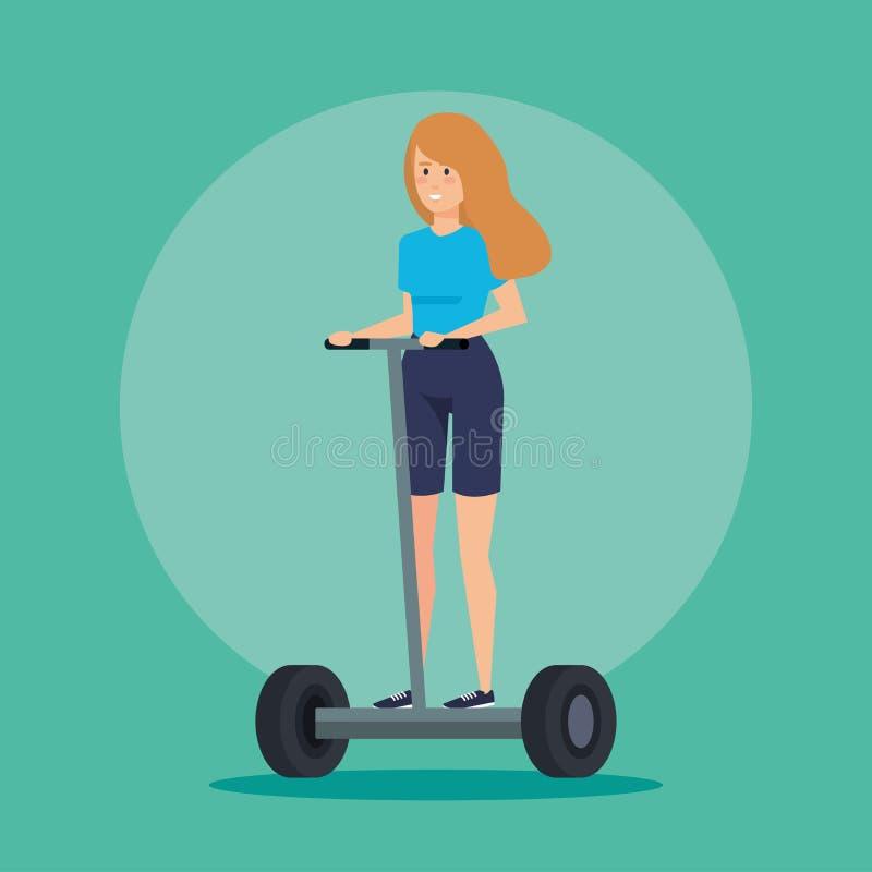 Kvinna med frisyren som rider den elektriska sparkcykeln stock illustrationer