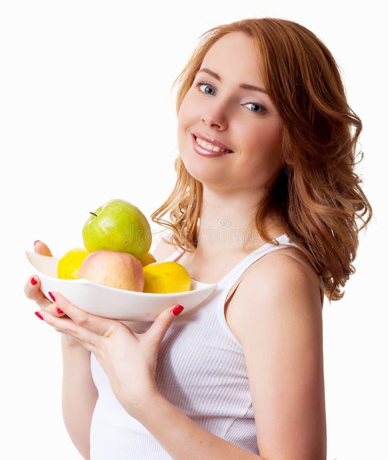 Kvinna med frukt arkivfoto
