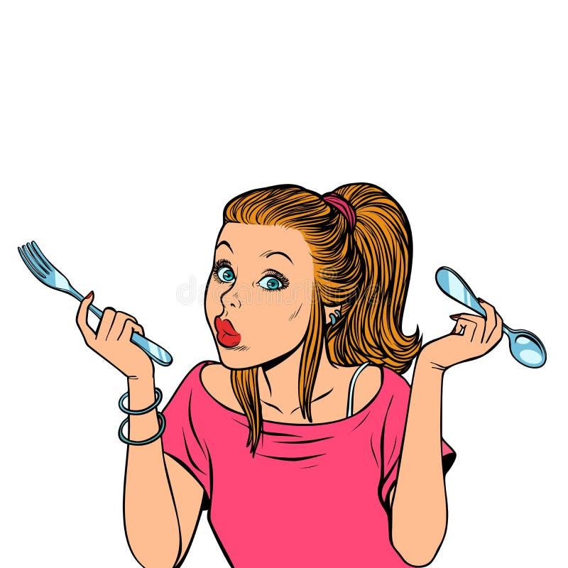 Kvinna med gaffeln och skeden stock illustrationer