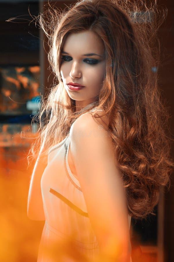 Kvinna med härliga långa bruna hår. Konstportrai arkivbilder