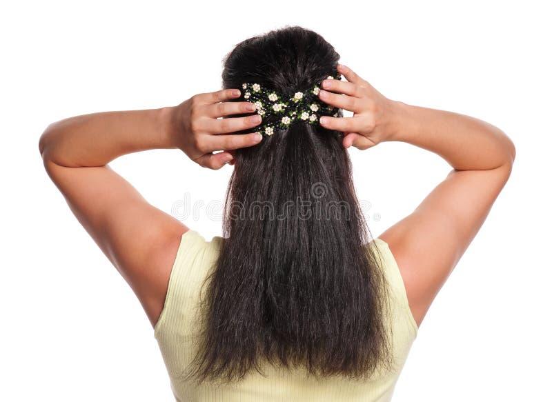 Kvinna med hårnålen royaltyfri foto