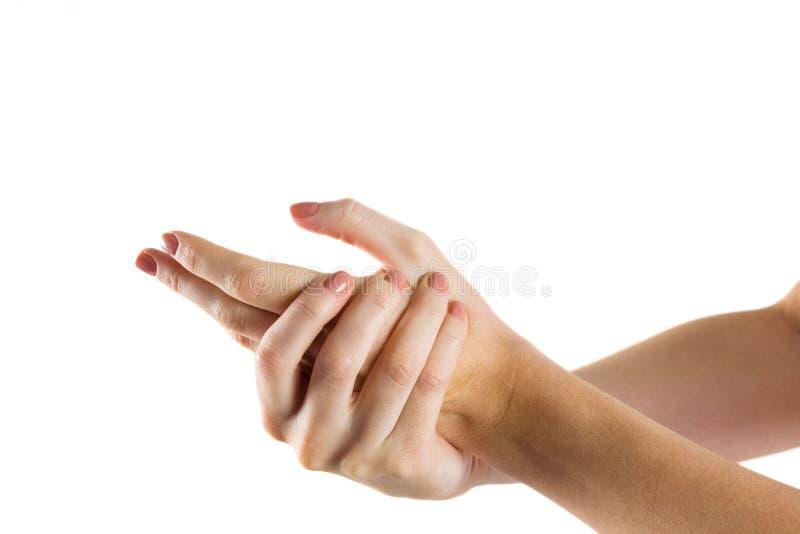 Kvinna med handskada royaltyfria bilder