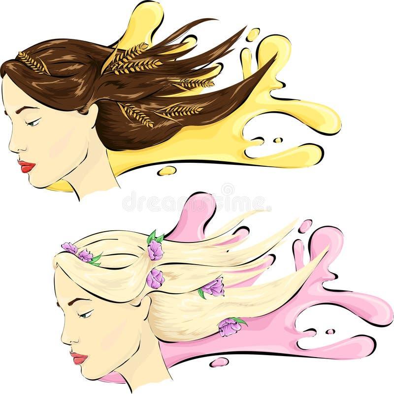 Kvinna med healshy hår stock illustrationer