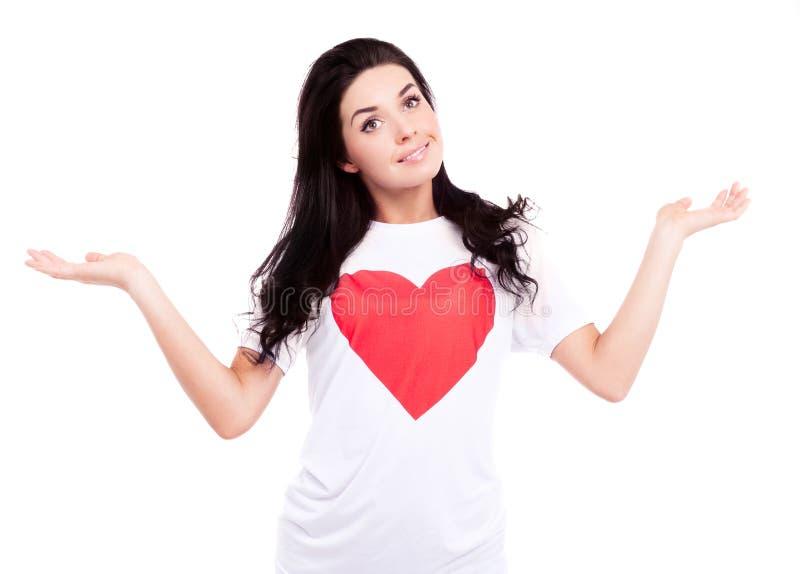 Kvinna med hjärta arkivbild