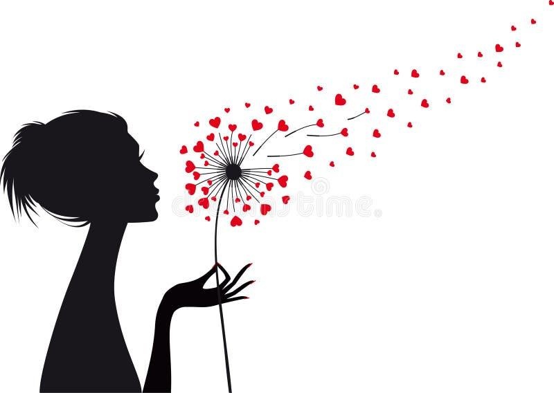 Kvinna med hjärtamaskrosen, vektor royaltyfri illustrationer