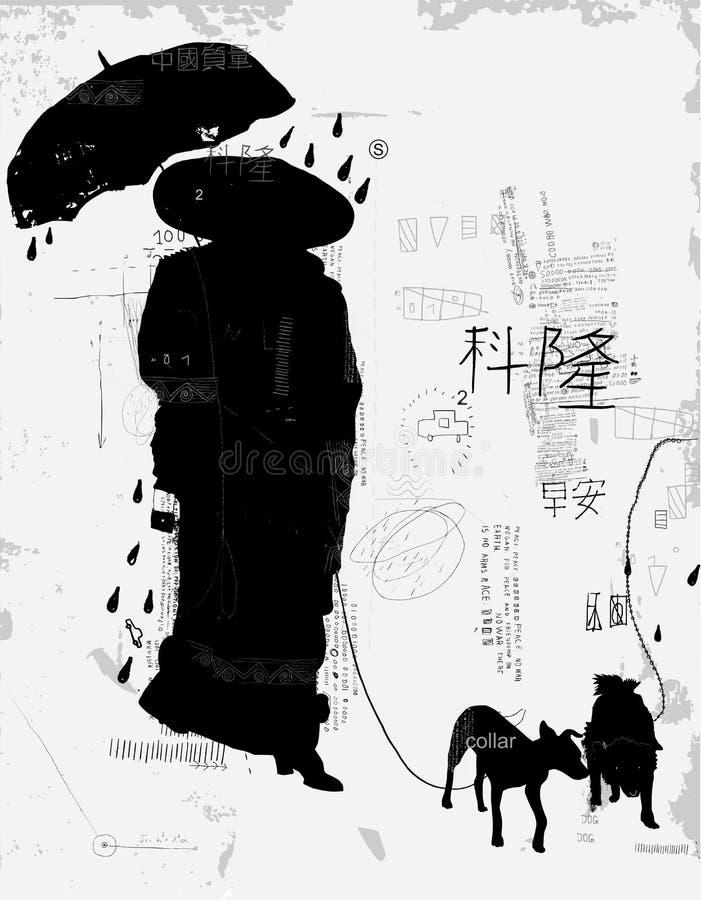 Kvinna med hunden royaltyfri illustrationer