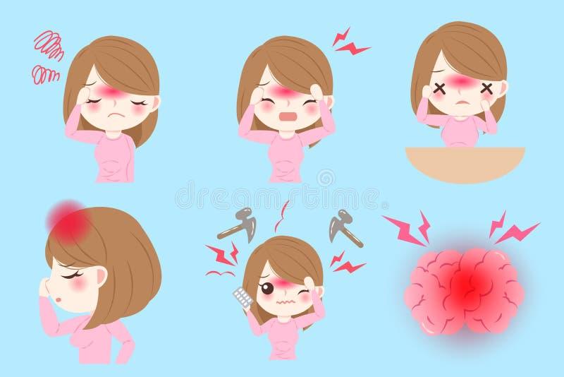 Kvinna med huvudvärk royaltyfri illustrationer