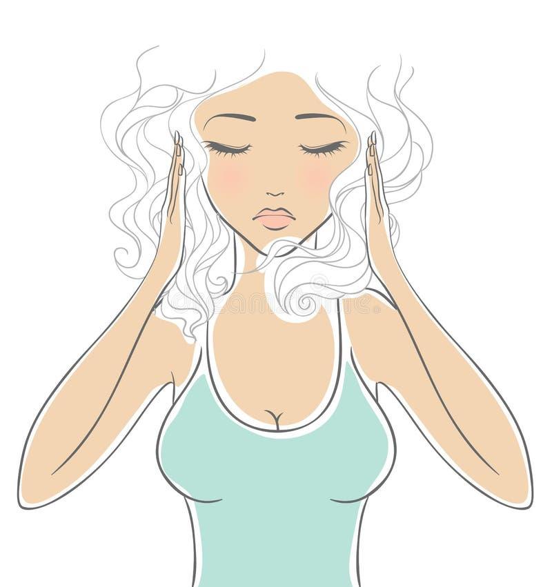 Kvinna med huvudvärk stock illustrationer