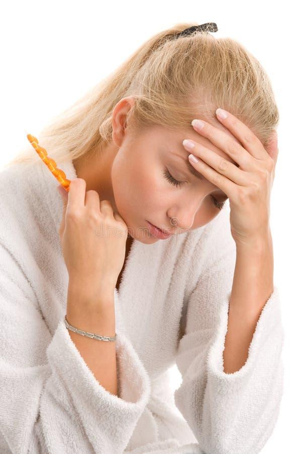 Kvinna med huvudvärk arkivfoton
