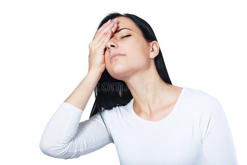Kvinna med huvudvärk royaltyfri bild