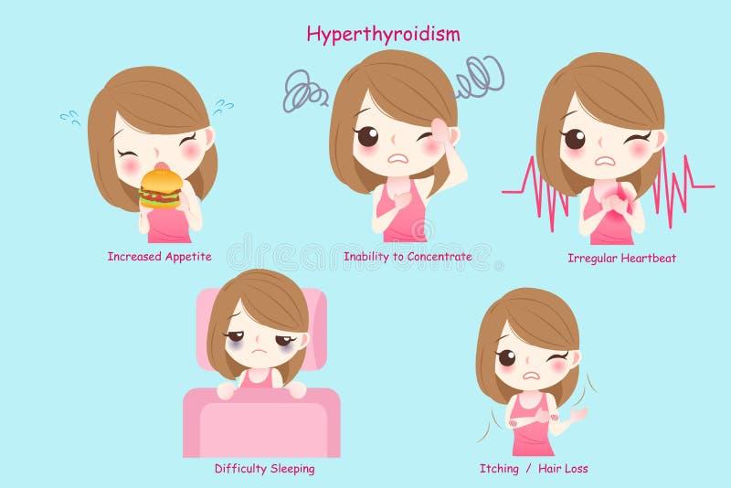 Kvinna med hyperthyroidism vektor illustrationer
