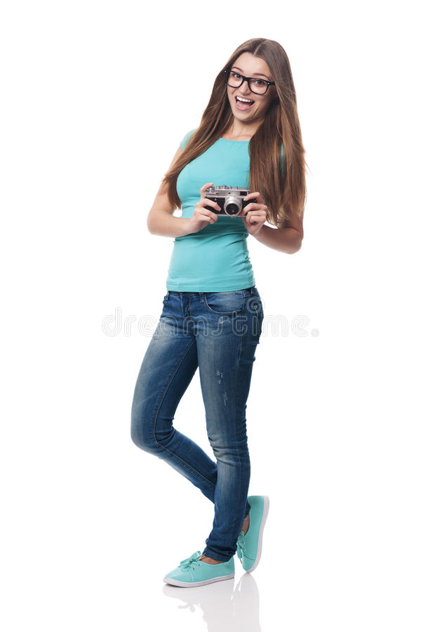 Kvinna med kameran arkivfoton