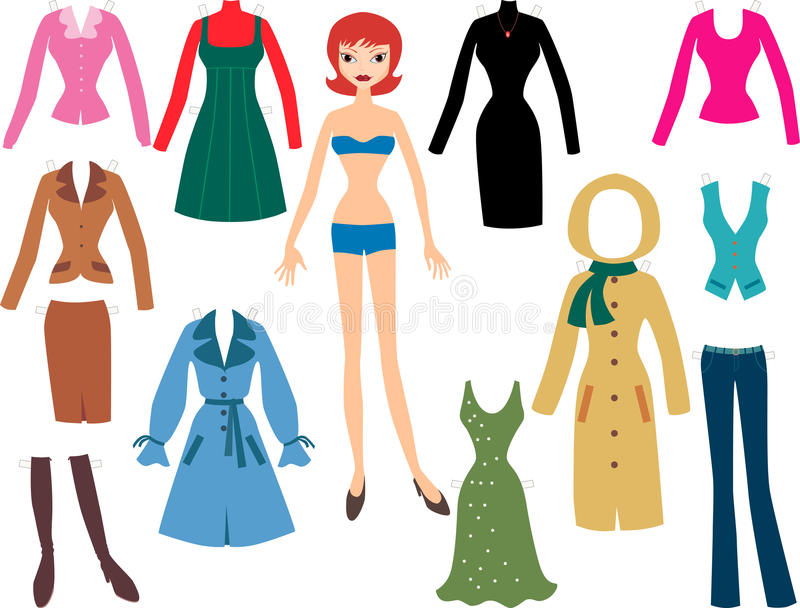 Kvinna med kläderna stock illustrationer