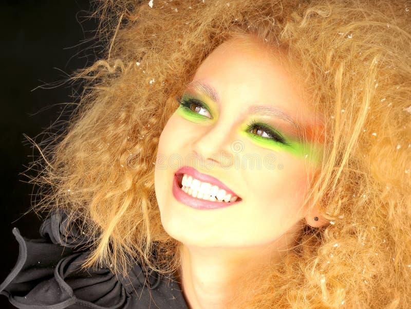 Kvinna med konstnärlig makeup fotografering för bildbyråer