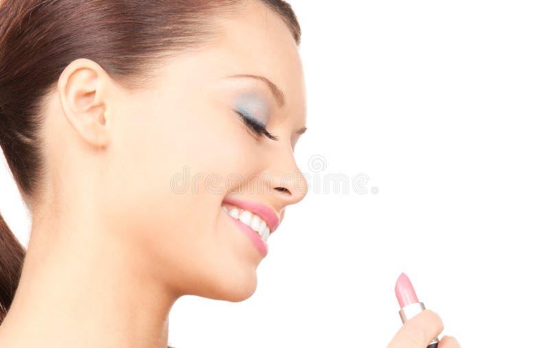 Kvinna med läppstift arkivfoton