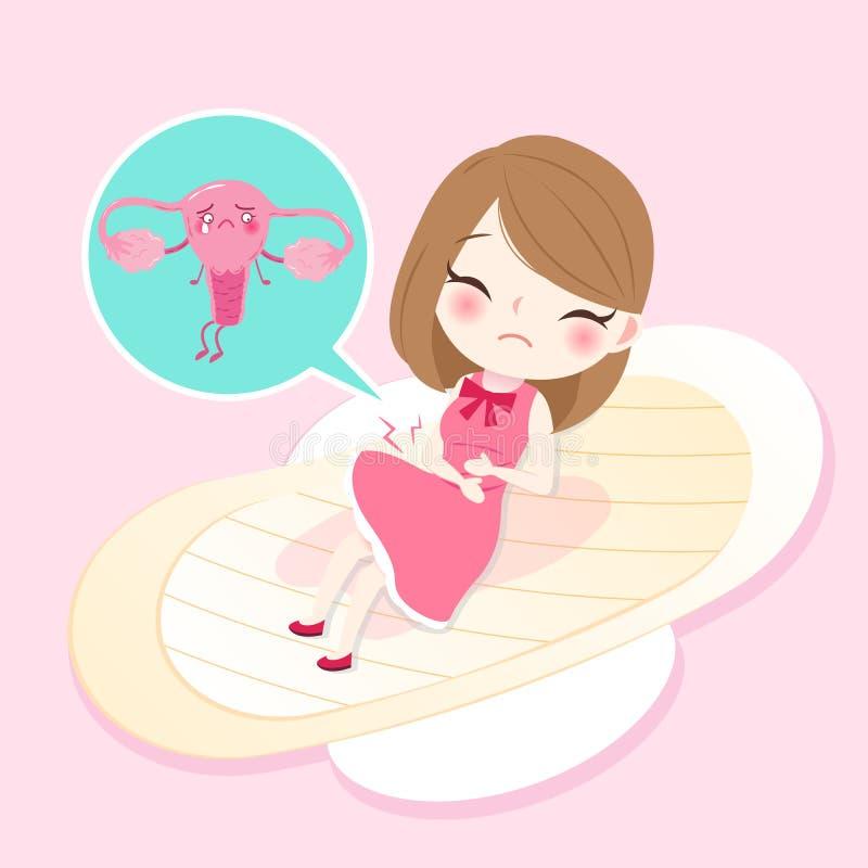 Kvinna med livmodern stock illustrationer