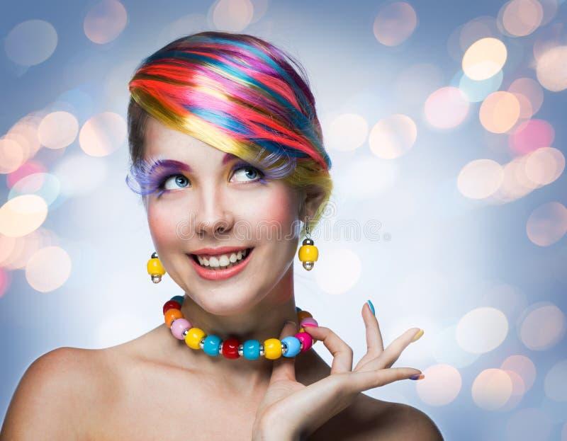 Kvinna med ljus makeup royaltyfri bild