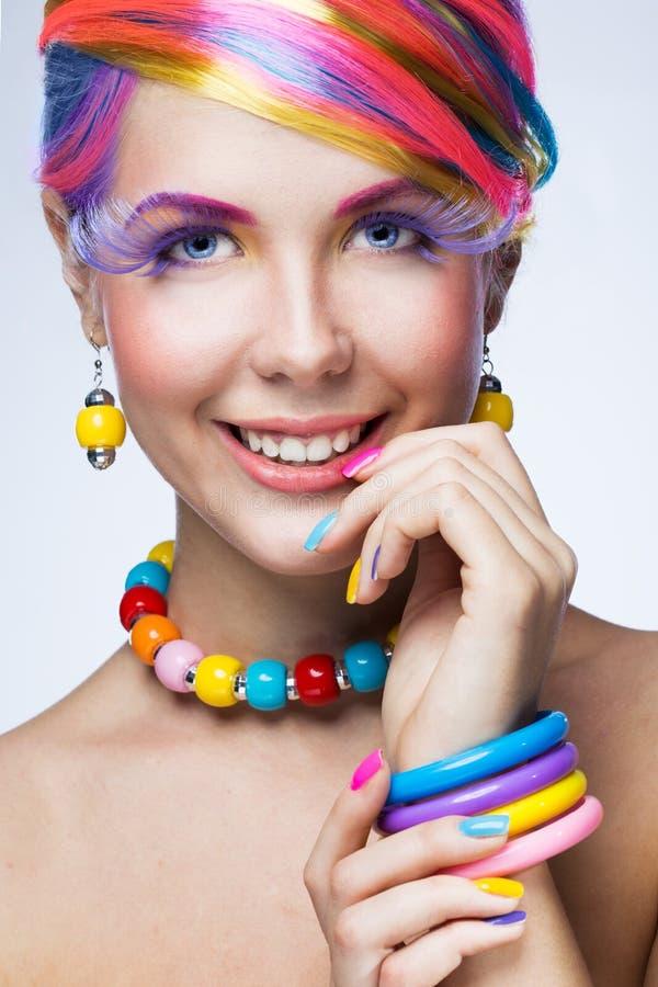 Kvinna med ljus makeup royaltyfri fotografi