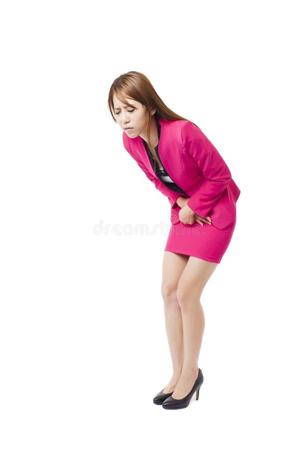 Kvinna med mageupplagor arkivfoto