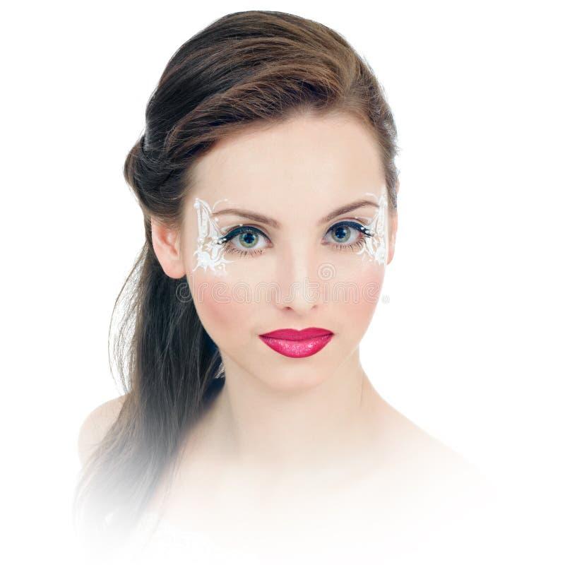 Kvinna med makeup och faceart arkivfoton