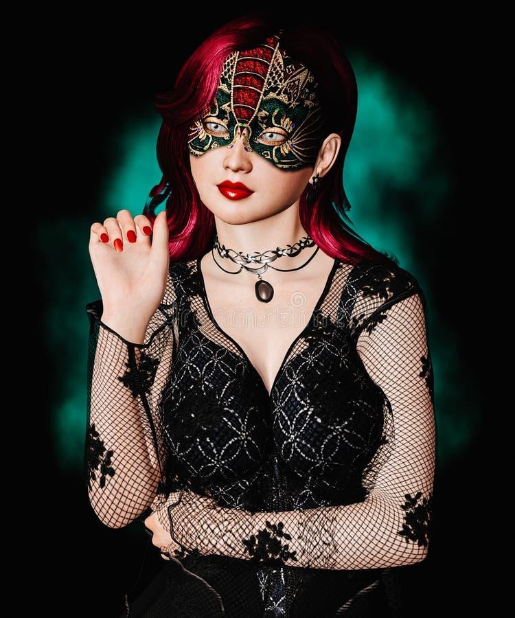 Kvinna med maskeradmaskeringen arkivfoto