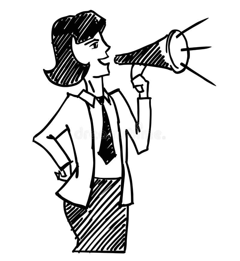 Kvinna med megafonen royaltyfri illustrationer