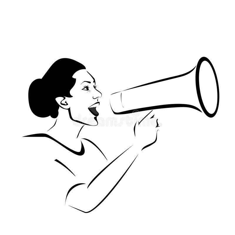 Kvinna med megafonvektorillustrationen begreppsmässigt stock illustrationer
