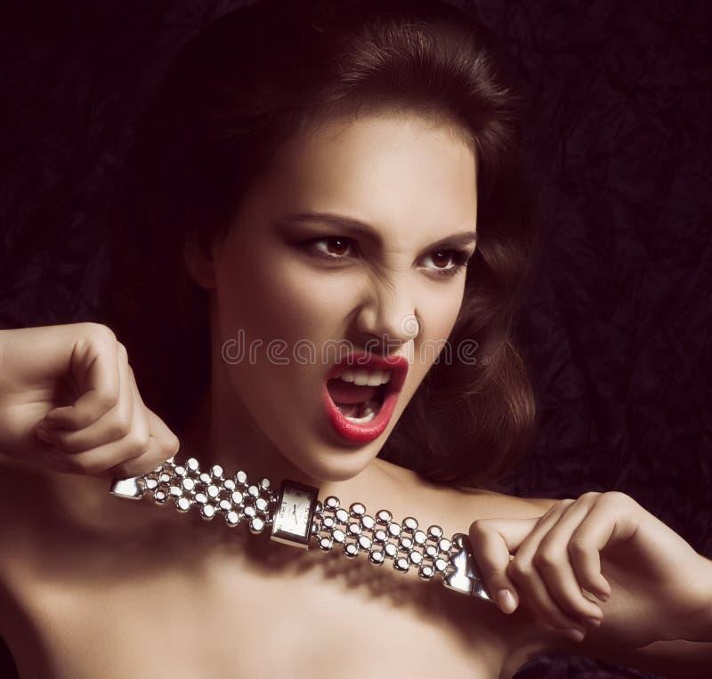 Kvinna med modemakeup royaltyfria foton