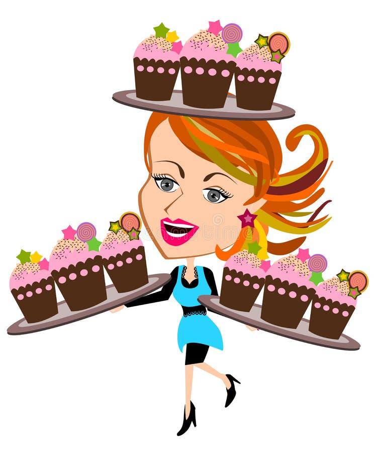 Kvinna med muffin royaltyfri illustrationer